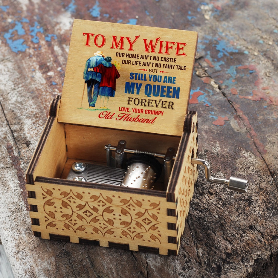 Wooden Hand-cranked Music Box Alpha Limitless Husband - Wife