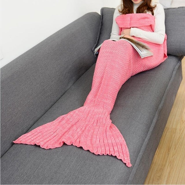 Mermaid Tail Knitted Blankets Alpha Limitless Pink colour / 140x70cm children