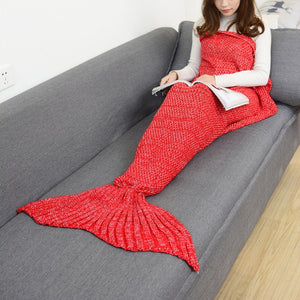 Mermaid Tail Knitted Blankets Alpha Limitless Watermelon red / 140x70cm children