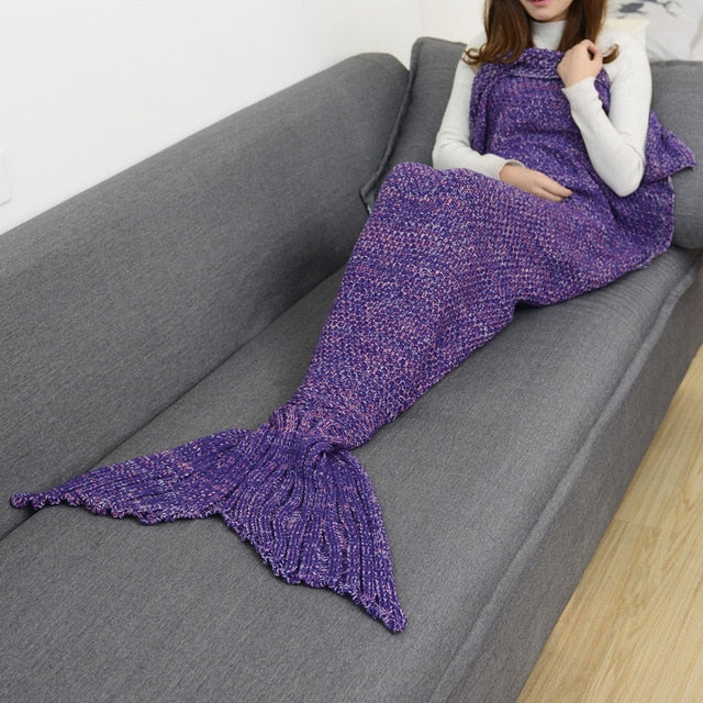 Mermaid Tail Knitted Blankets Alpha Limitless Violet / 140x70cm children