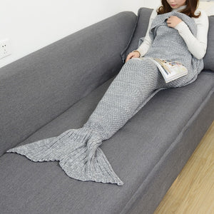 Mermaid Tail Knitted Blankets Alpha Limitless Gray / 140x70cm children