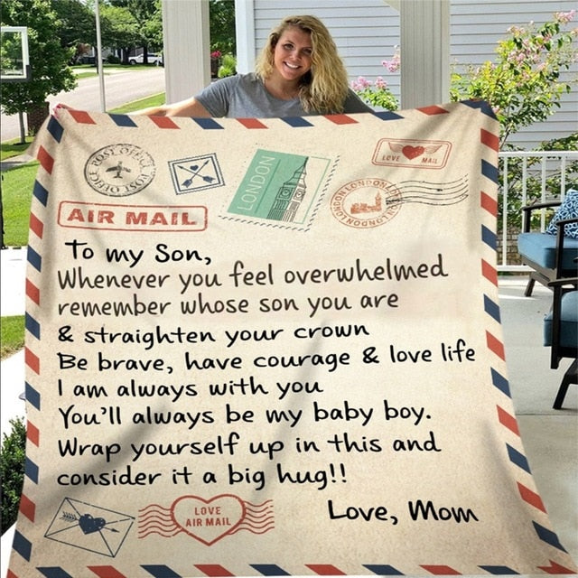 Letter Printed Air Mail Blankets Alpha Limitless Mom -Son