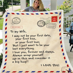 Letter Printed Air Mail Blankets Alpha Limitless Husband - Wife
