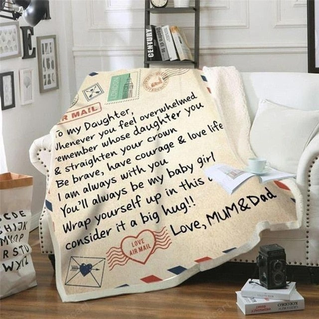 Letter Printed Air Mail Blankets Alpha Limitless Mum & Dad - Daughter