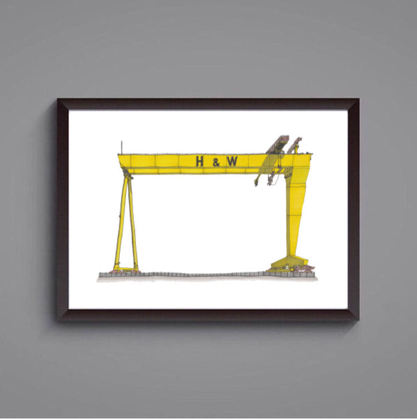 Harland & Wolff Crane, Belfast -  signed prints of the original hand drawing by Steven McClure