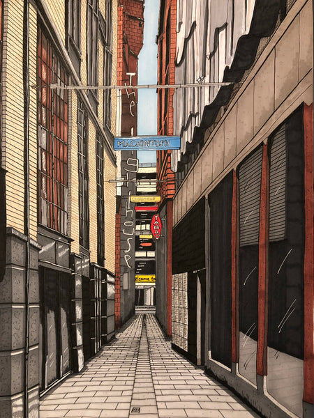 "Print of ""Mitchell Lane, Glasgow"" artwork by Steven McClure"