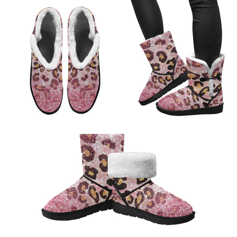 Glitter cheetah print Unisex Single Button Snow Boots (Model 051)