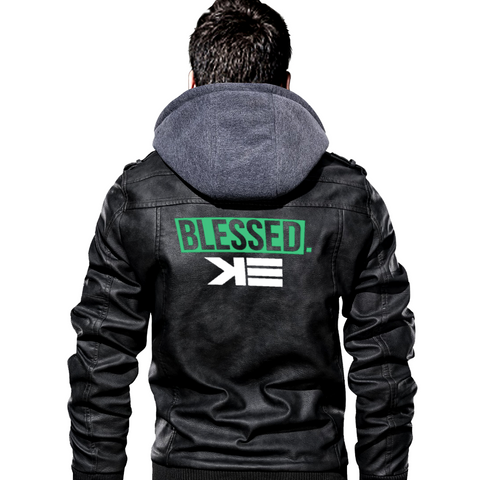 Blessed Men's PU Leather Motorcycle Jacket