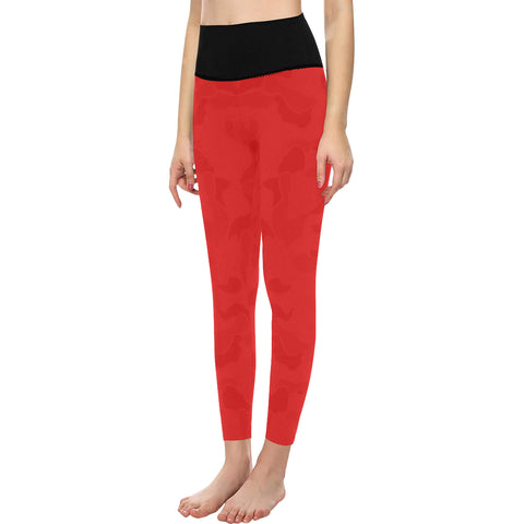 Red camo High-Waisted Leggings (Model L36)