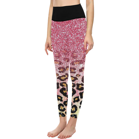 Pink panther High-Waisted Leggings (Model L36)