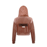Blessed Women's Golden Velvet  Long Sleeve Hoodie Jacket+Pants Casual  Outfits