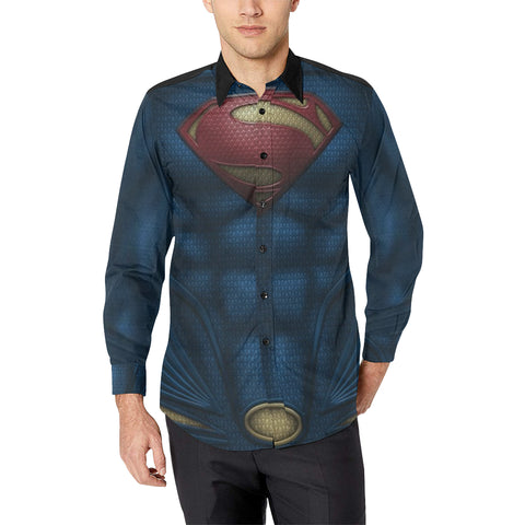 Superman Men's All Over Print Casual Dress Shirt (Model T61)