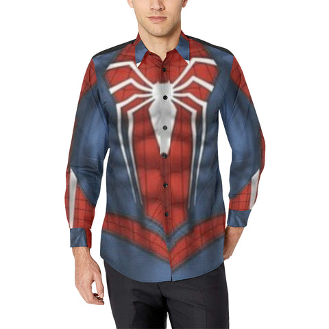 Spiderman Men's All Over Print Casual Dress Shirt (Model T61)