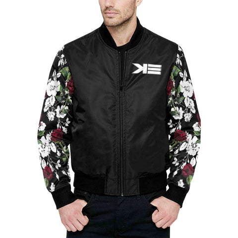 ROSES All Over Print Quilted Bomber Jacket