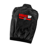 Christ Up PU Leather Motorcycle Jacket with Removable Hood