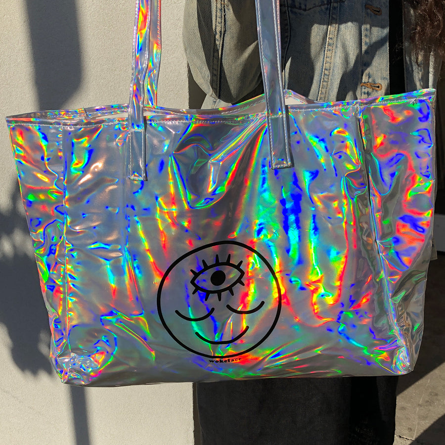 Cosmic Rainbow Holo Tote Bag