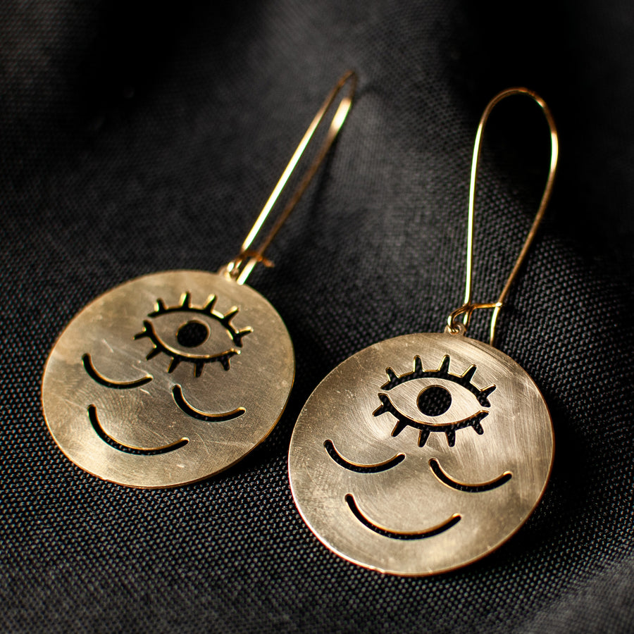Wokeface Earrings - Brass