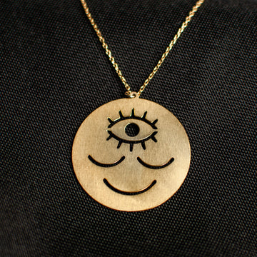 Wokeface Pendant Necklace - Brass