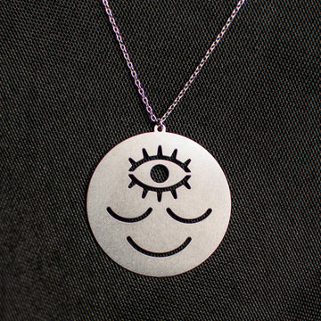 Wokeface Pendant Necklace - Silver