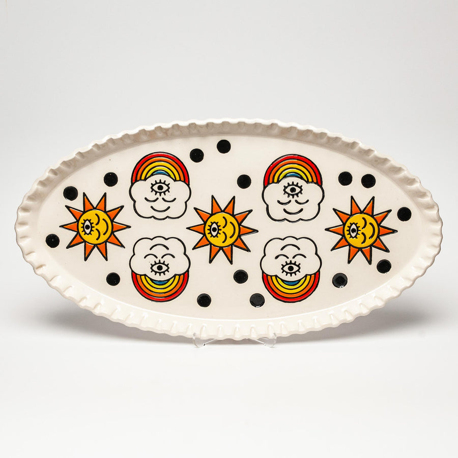 Ceramic Rainbows & Suns Large Oval Dish