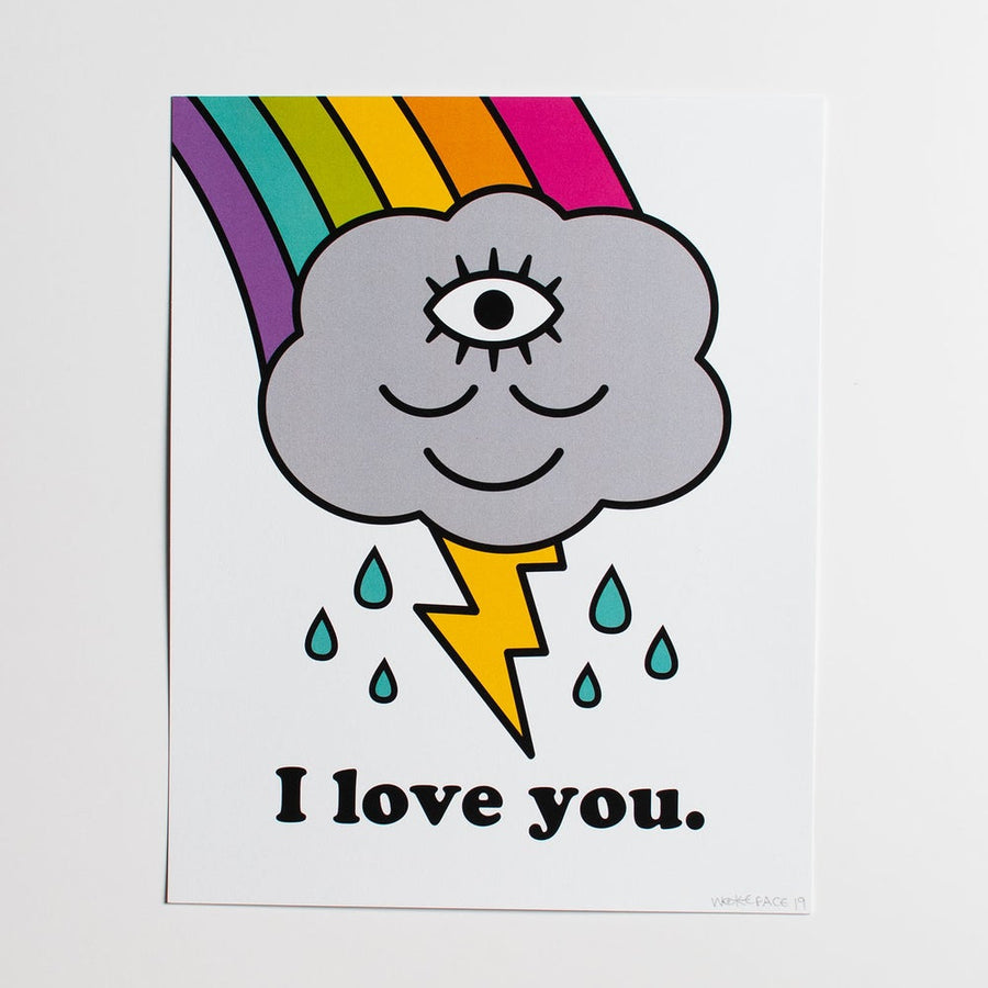 I Love You Rainbow Cloud Print