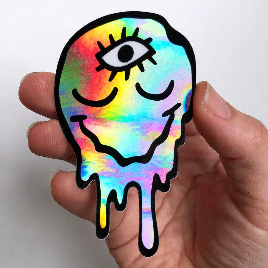 Drippy Melt Face Holographic Sticker
