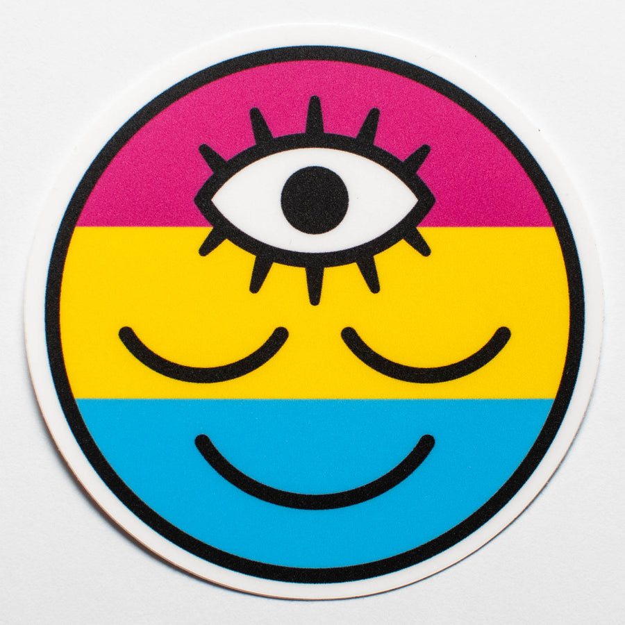 Pansexual Flag Wokeface Sticker