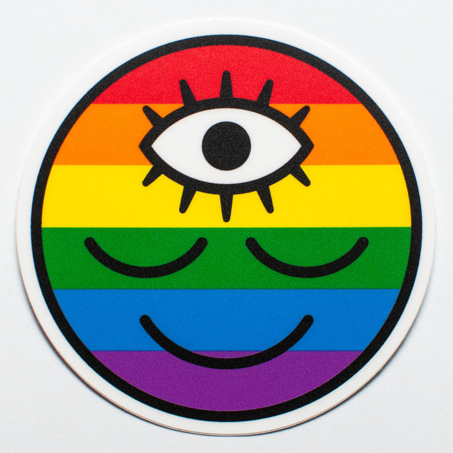 Pride Flag Rainbow Wokeface Sticker