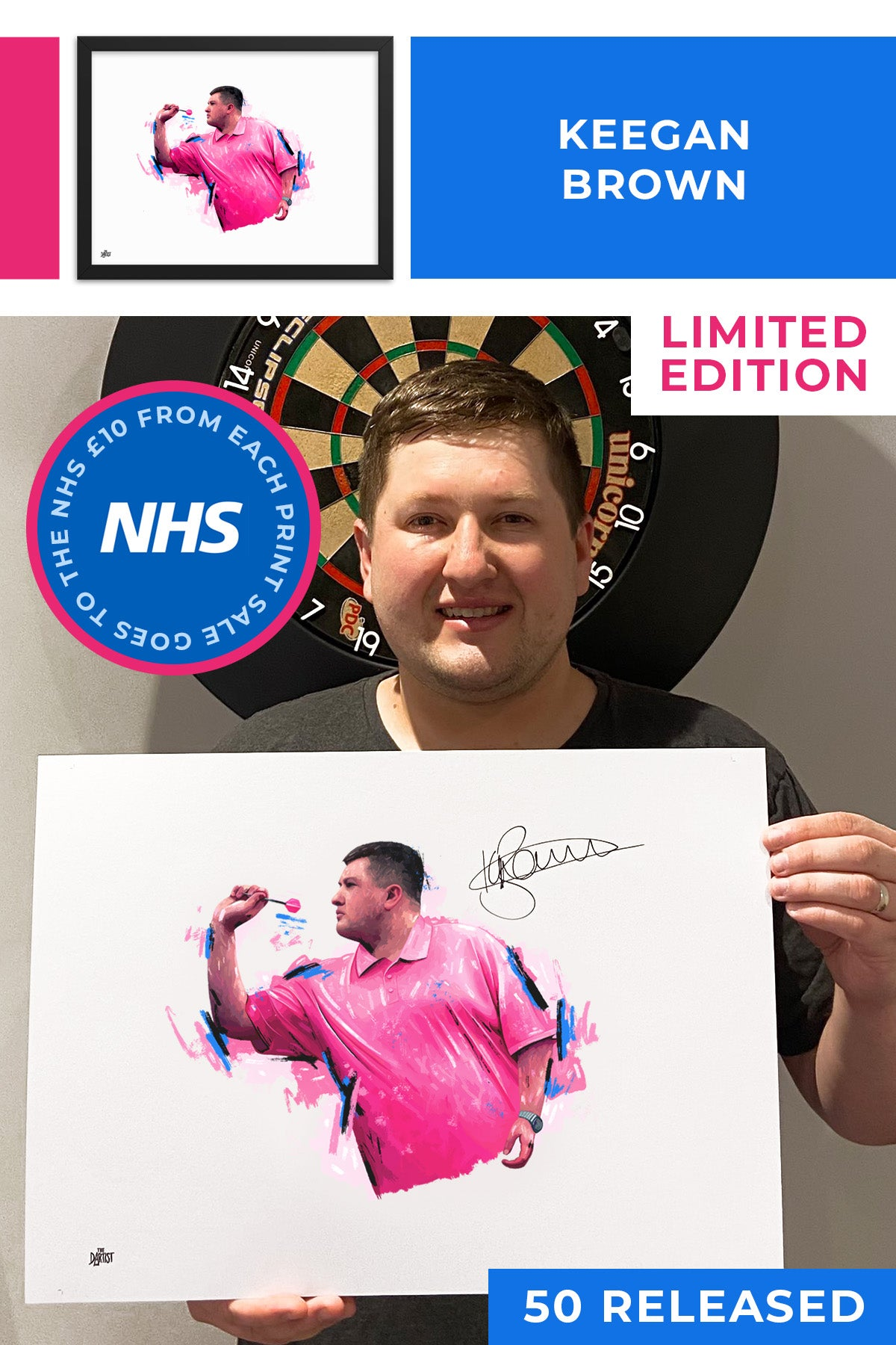 Keegan Brown Limited Edition Signed Art Print - The Dartist