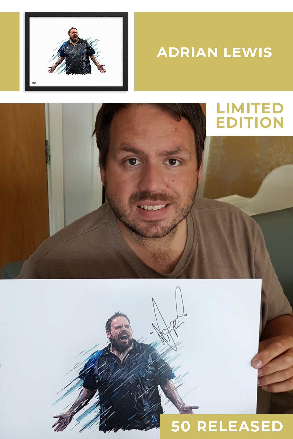 Adrian Lewis Limited Edition Signed Art Print - The Dartist