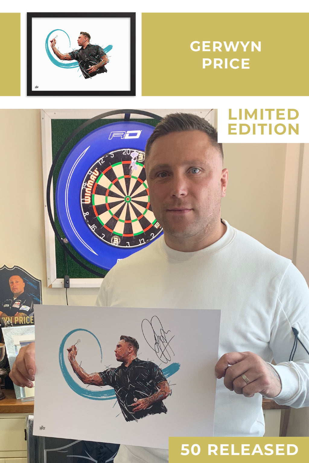 Gerwyn Price Limited Edition Signed Art Print - The Dartist