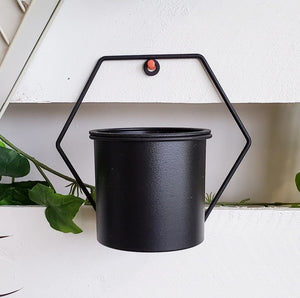 Black Geometric Hanging Planter