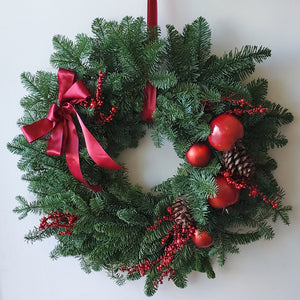 "20"" Fir Wreath - Partial Red Decoration"
