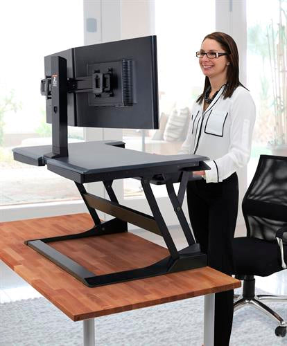 Stand A Desk WorkFit-T, Standing Desk Workstation (black with grey surface)