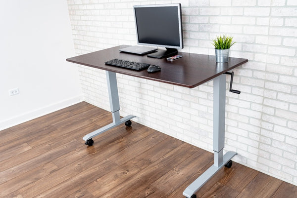 Stand A Desk Adjustable Crank Desk - Dark Walnut