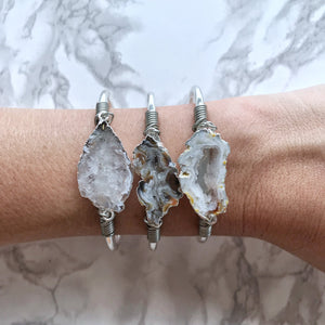 Agate Slice Cuff, silver or gold - The Catalyst Mercantile