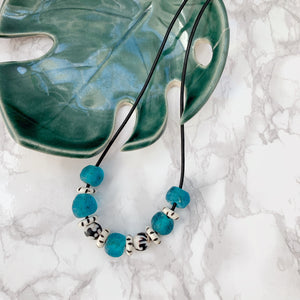 Blue Glass Layering Necklaces