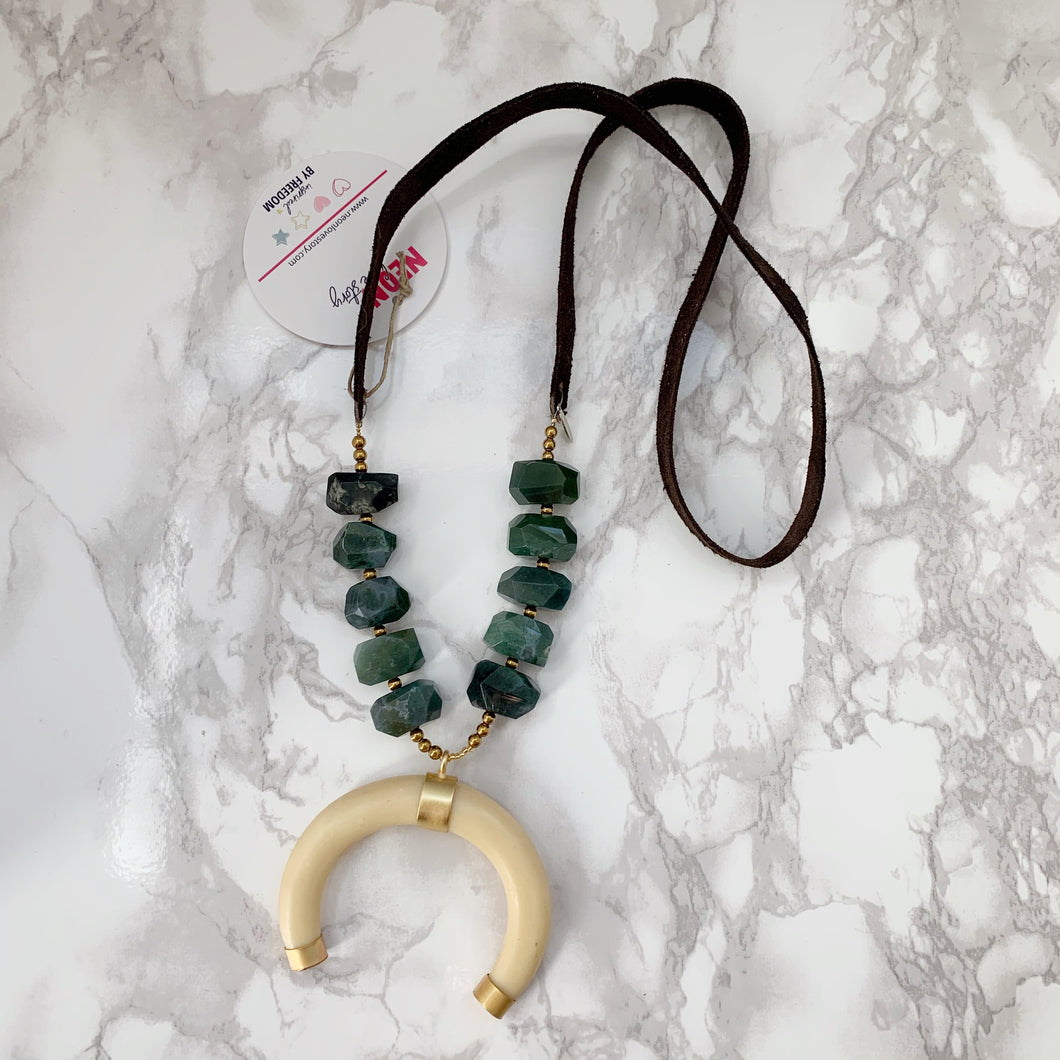Moss Agate Crescent Necklace - The Catalyst Mercantile
