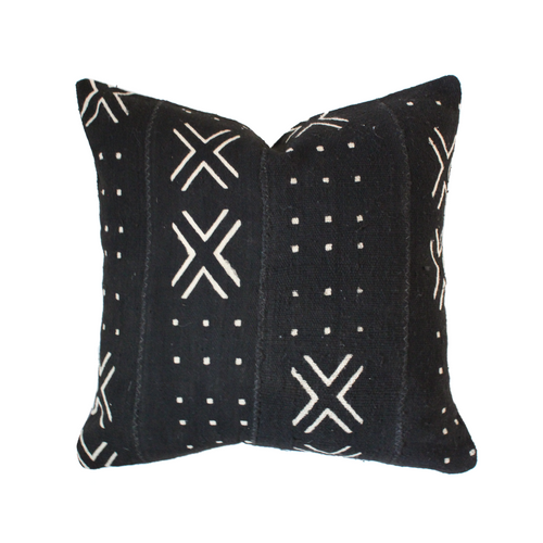 African Mudcloth Pillow Cover - Black X - The Catalyst Mercantile
