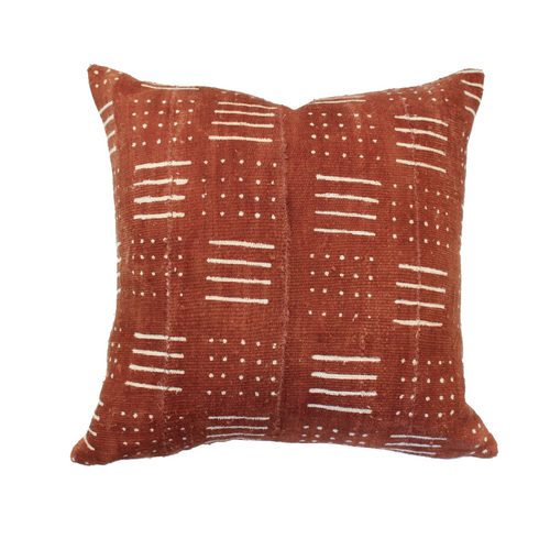 African Mudcloth Pillow Cover - Rust Dash/Dot - The Catalyst Mercantile
