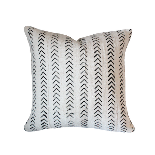 African Mudcloth Pillow Cover - White Small Arrows - The Catalyst Mercantile