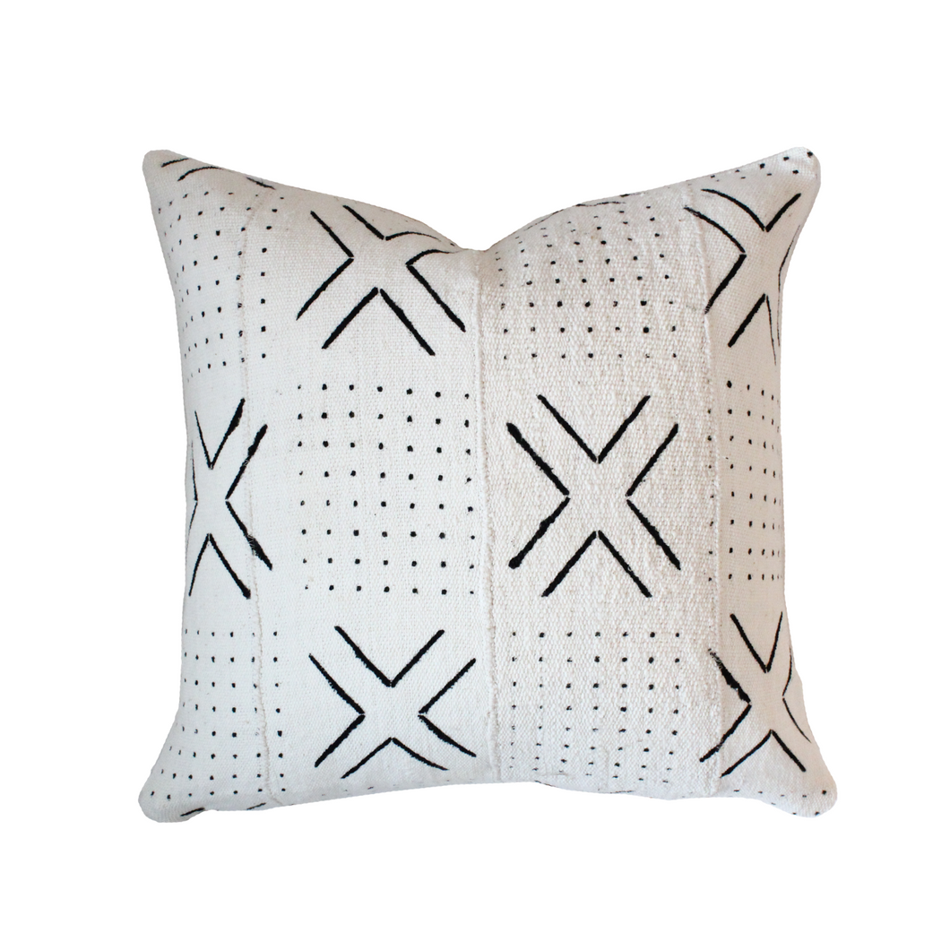 African Mudcloth Pillow Cover - White X - The Catalyst Mercantile