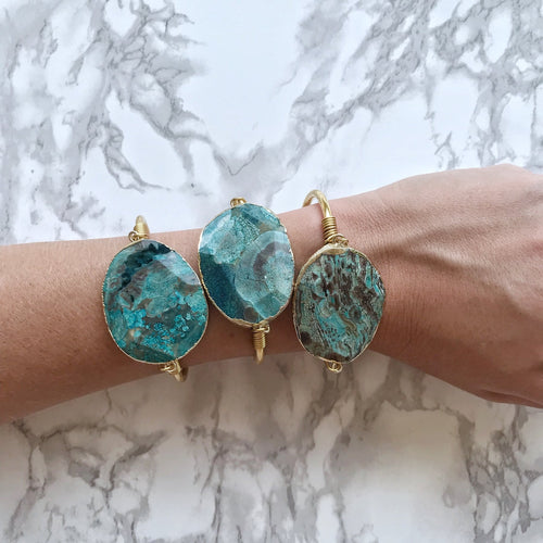 Blue Ocean Jasper Cuff, Gold or Silver - The Catalyst Mercantile