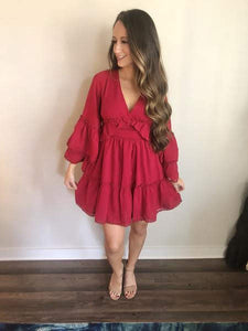 Bell Sleeve Red Ruffle Dress - The Catalyst Mercantile