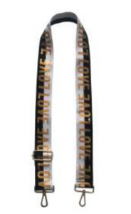 Black/White/Gold LOVE adjustable bag strap