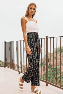 Brooklyn Boho Paper Bag High Waist Pants - The Catalyst Mercantile