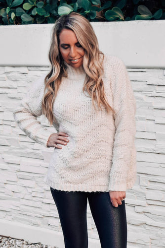 By Your Side Chevron Chunky Knit High Neck Sweater