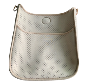 Perforated Camel Neoprene Messenger Bag