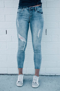 Carly Cane Distressed Cropped Jeans