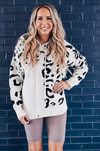 Fall for it Abstract Leopard Hoodie Sweater
